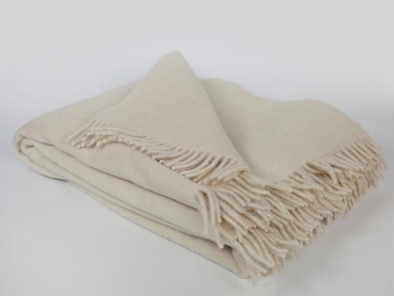 Ecru - koc 100% wełna, tkany na krosnach