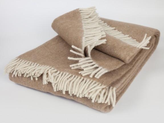 Camel - koc 100% wełna, tkany na krosnach