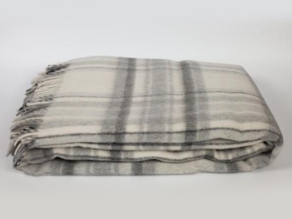 Krata szara - koc 100% wełna, tkany na krosnach