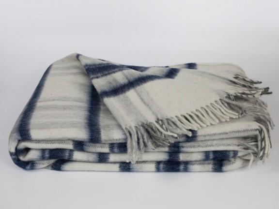 Krata granat - koc 100% wełna, tkany na krosnach
